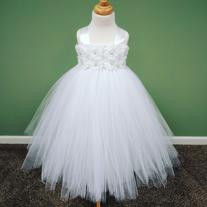 Toddler Tutu Dress/White Tutu Dress/Flower Girl Dress/Princess Tutu ...
