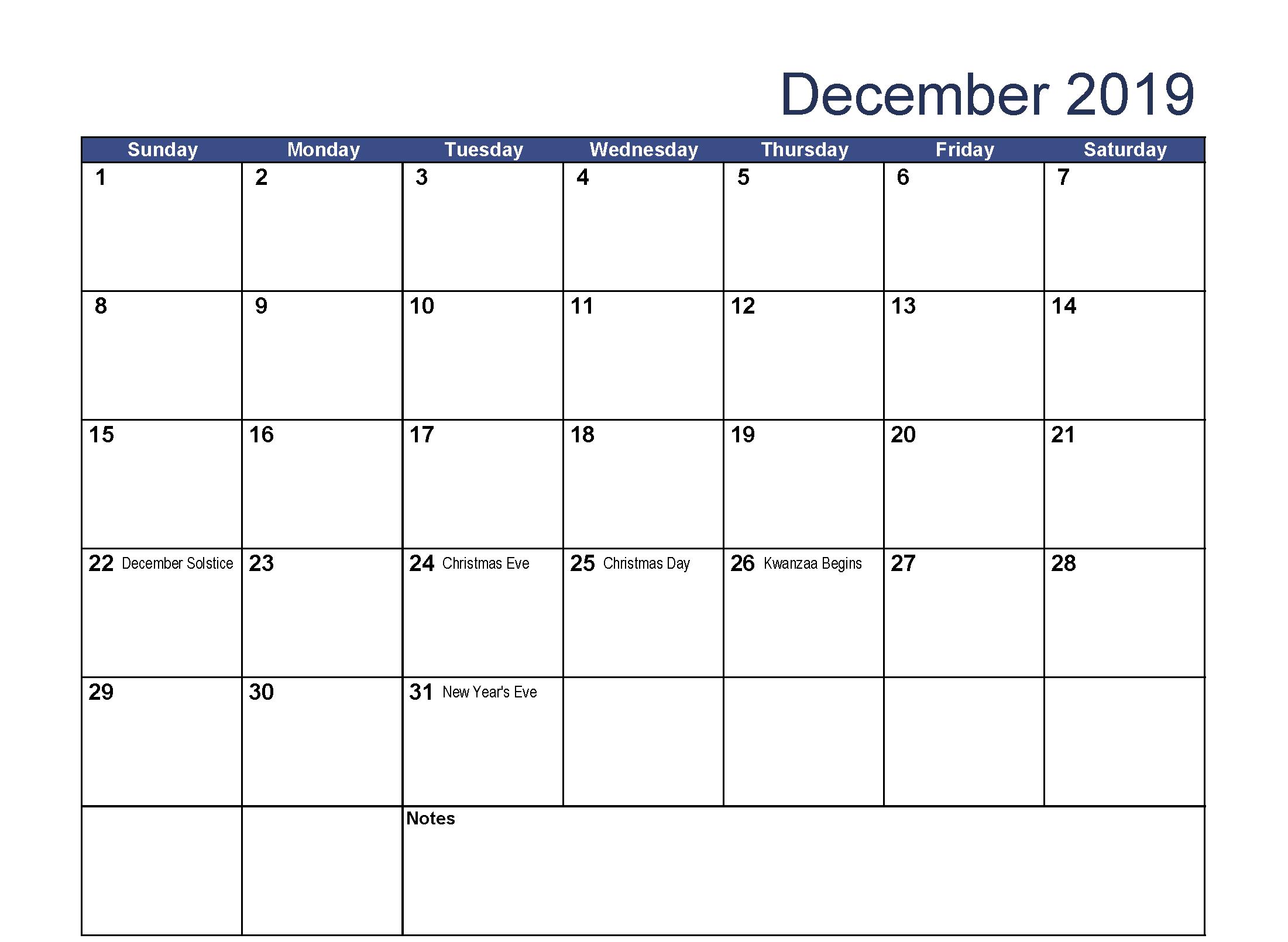 Blank Fillable December 2019 Calendar 2019 Calendar Calendar 2019 With Holidays Free Printable Calendar Templates