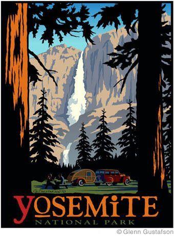 Vintage Yosemite Poster With A Teardrop Camper And Yosemite Falls Vintage National Park Posters Retro Travel Poster Vintage Poster Art