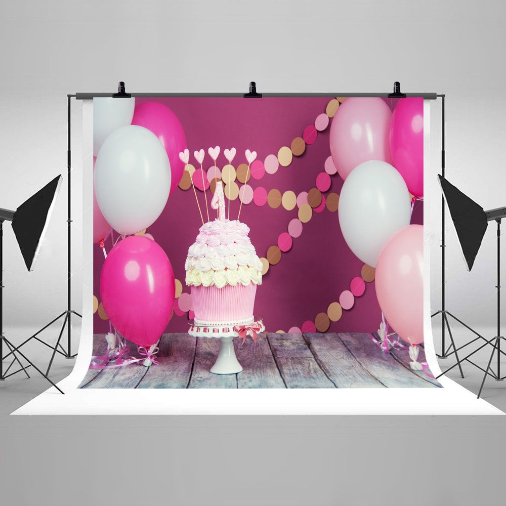 45++ Birthday cake and balloons background ideas