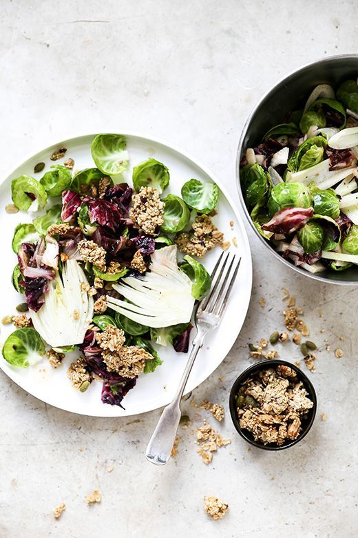 Warm Radicchio Brussels Sprout And Fennel Salad With Tahini Granola