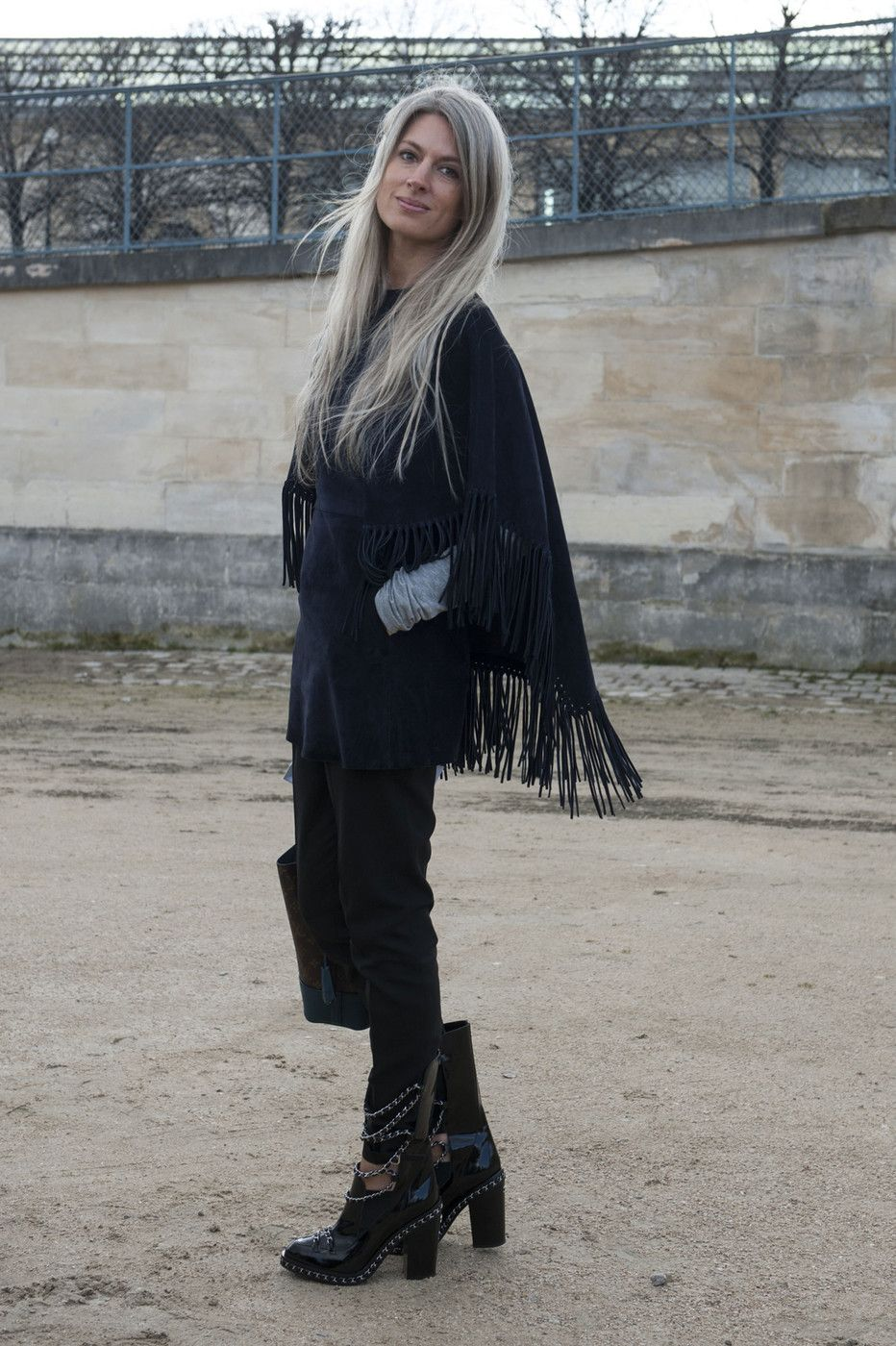 Valentino fringe tunic and Chanel chain boots. #PFW