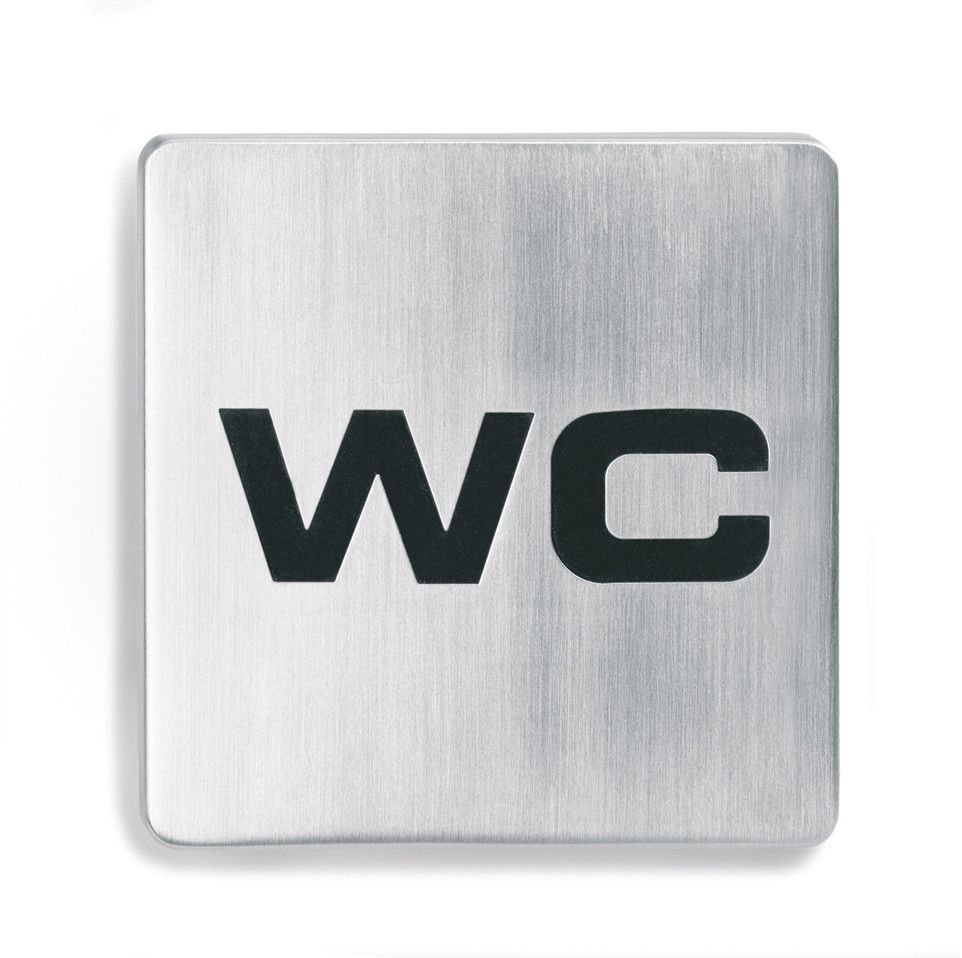 """Stainless Steel """"WC"""" Square Sign"""