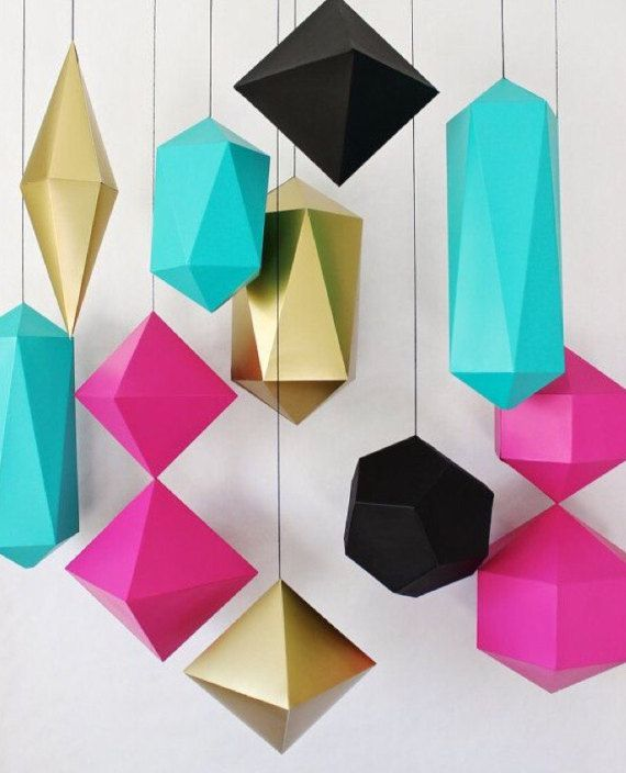 Set Of 12 Low Poly Origami Figures Origami Decor Wall