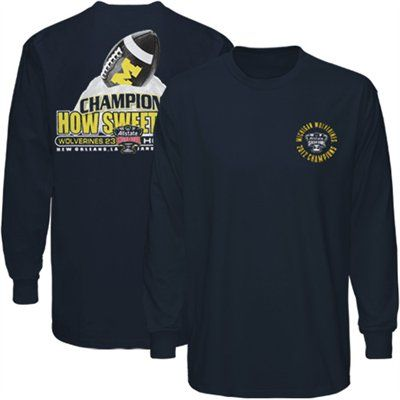 Michigan Wolverines 2012 Sugar Bowl Champions Sweet Long Sleeve T-Shirt - Navy Blue - XL