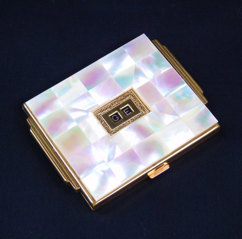 Asme Art Deco Mother Of Pearl Powder Compact Vintage