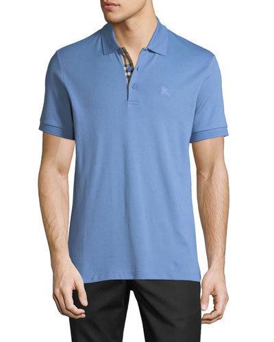 d66fdc178 Burberry Men's Hartford Check-Facing Polo Shirt, Light Blue ...