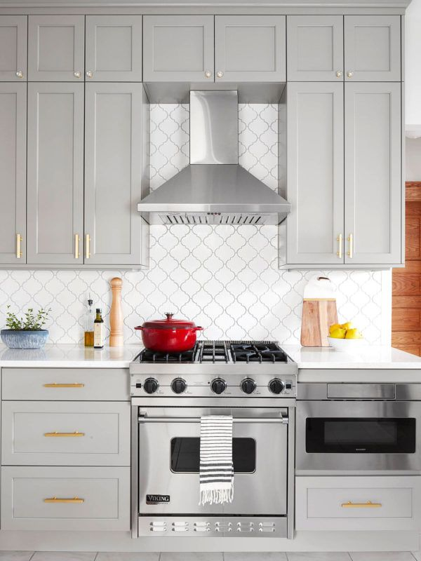 White Glazed Porcelain Arabesque Backsplash Tile | Backsplash.com #graycabinets
