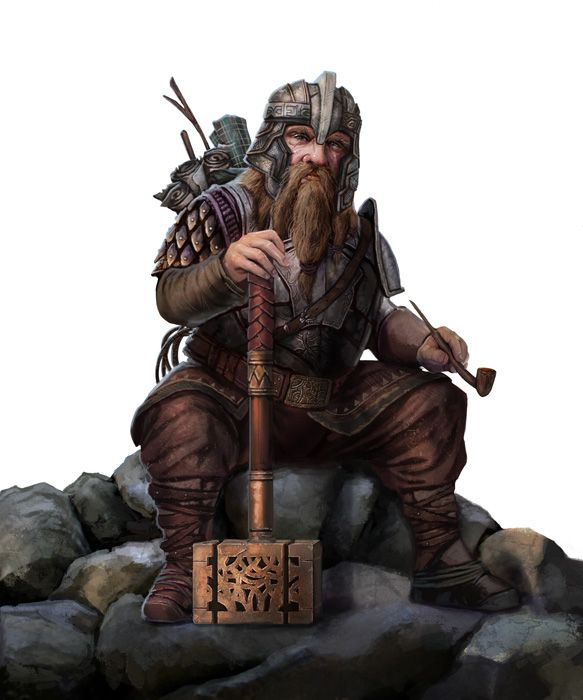 Art by pinkhavok - Dwarf warrior with a war hammer. Not commonly seen, a dwarf who values his scrolls (even though dwarfs do make good scholars)