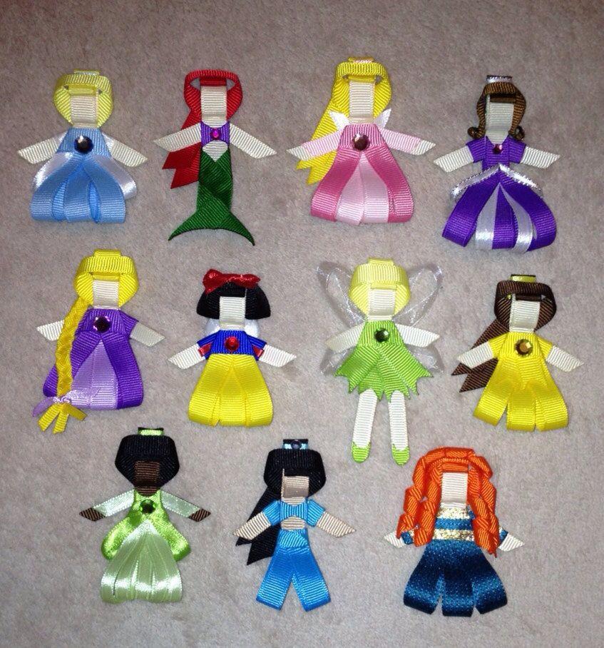 broches para el cabello con listn en forma de princesas