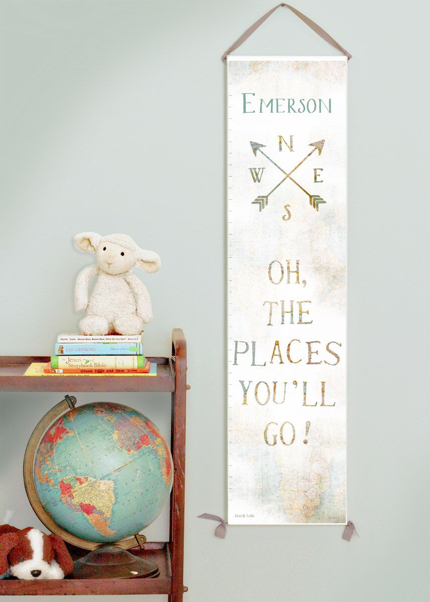 Custom personalized oh the places you ll go canvas growth chart