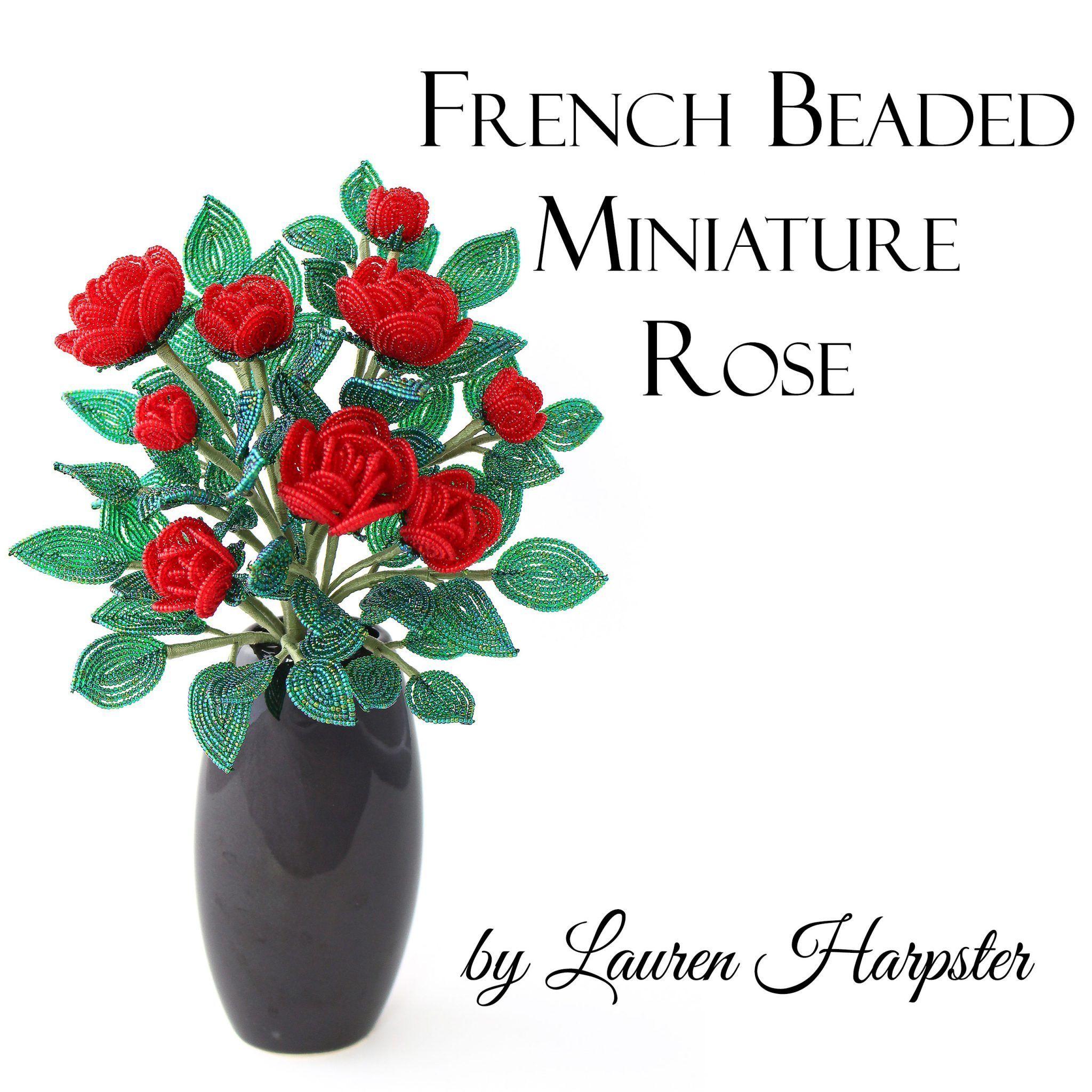 Pdf Pattern French Beaded Miniature Rose Beaded Flowers Patterns French Beaded Flowers Beaded Jewelry Patterns