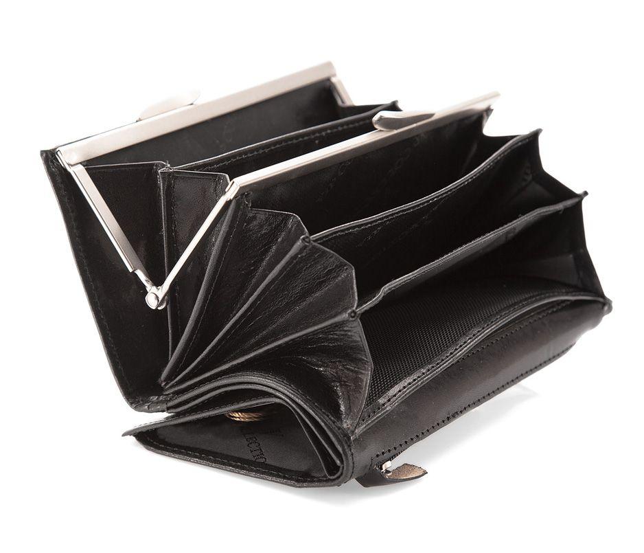 Czarny damski portfel skórzany Sklep VIP