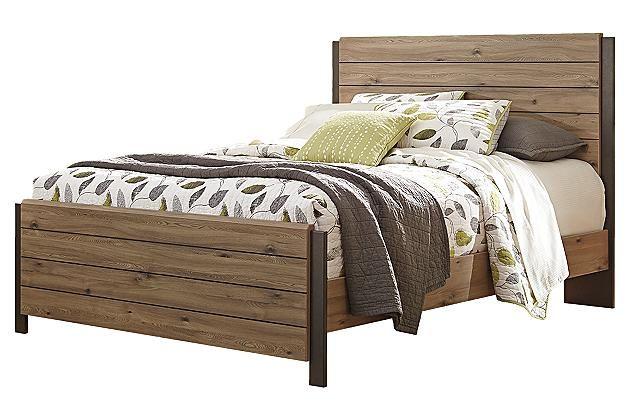 Beige Brown Dexifield Queen Panel Bed 500 Queen Panel Beds Panel Bed Bed
