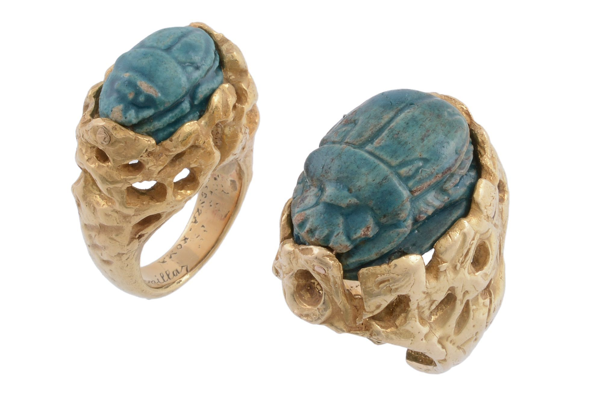 Two scarab set dress rings by Franco Cannilla for Masenza