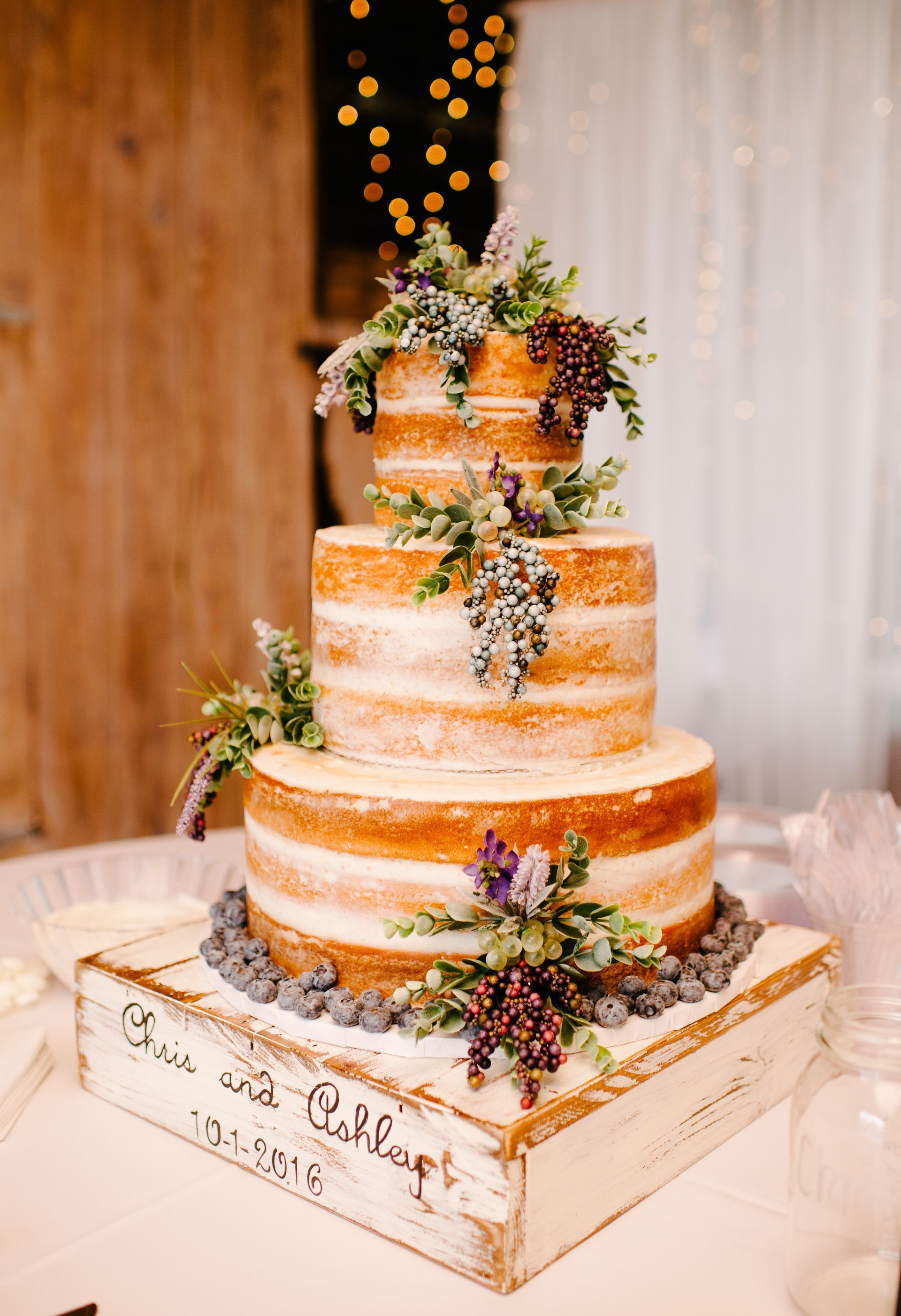Naked cake berries rustic wooden box cake stand wedding cake