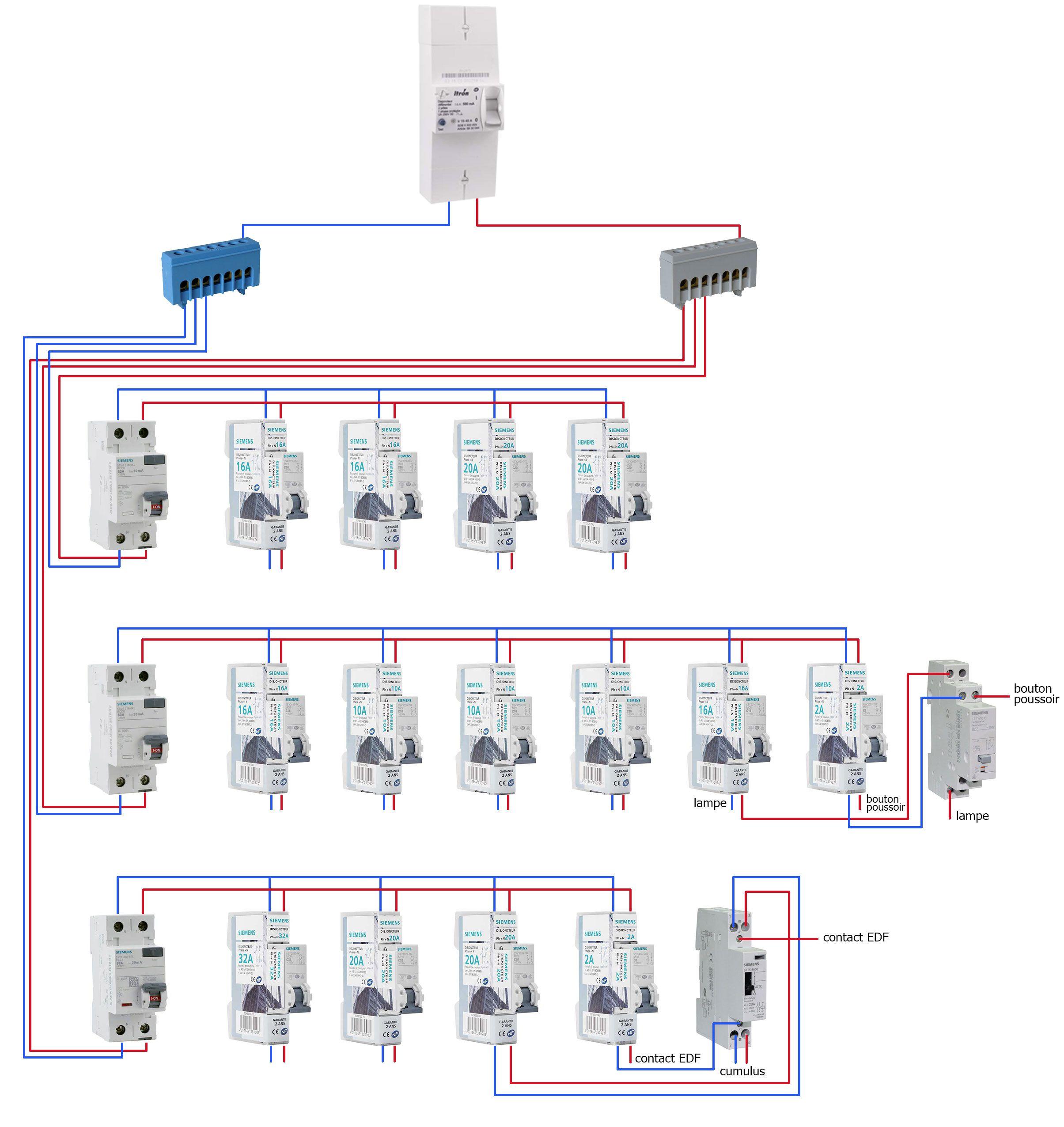 Exemple d'un schéma de câblage d'un tableau électrique #schemaelectrique #schemacablage # ...