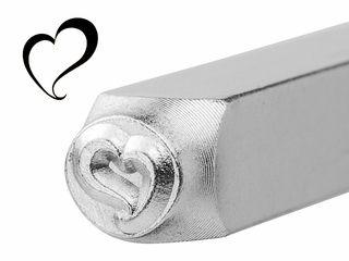 Metal Jewelry Design Stamp Swirly Heart 6mm ImpressArt