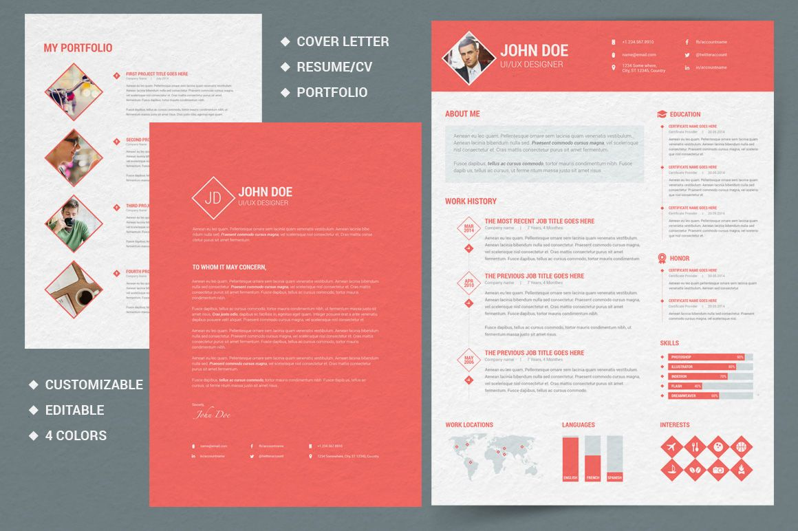 Diamond Resume/CV | 3 Piece Resume by Pixel Strawberry on Creative ...