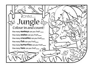 print this activity and let your child have fun colouring and counting the jungle animals. Black Bedroom Furniture Sets. Home Design Ideas