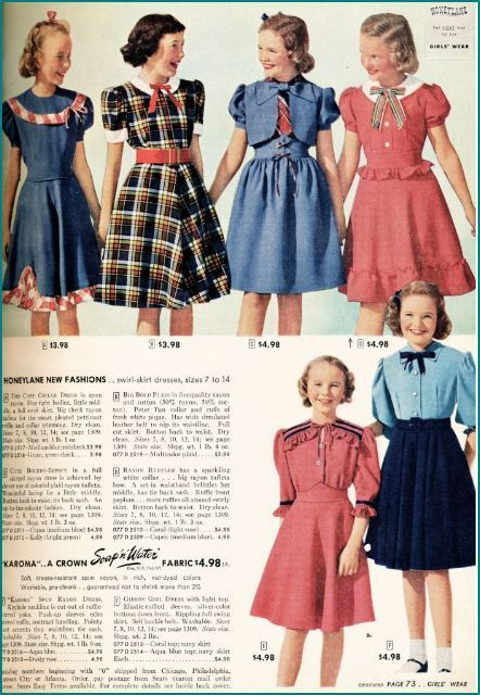 1940s sears girls dresses | 50s | Vintage girls dresses ...