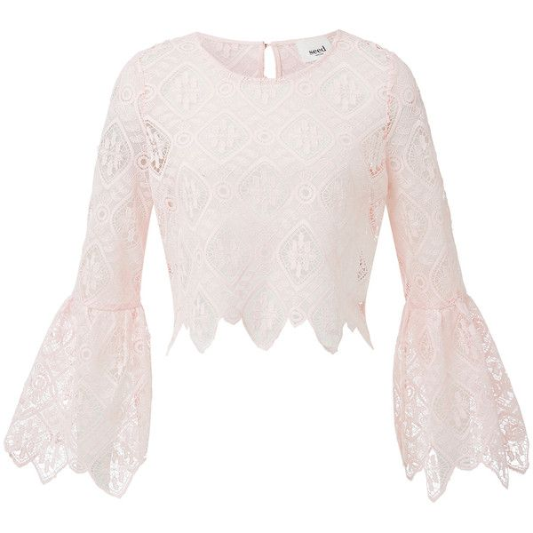 5541aec29bf Lace Crop Bell Sleeve Top ($69) ❤ liked on Polyvore featuring tops, pink lace  top, lace top, flared sleeve top, lace bell-sleeve tops and scoop neck top