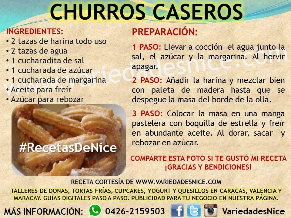 Churros Caseros Variedades Nice Receta De Churros Receta Para Churros Caseros Churros