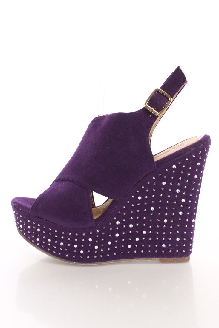 Purple Faux Suede Rhinestone Platform Wedges Y Clubwear Party Dresses Shoes Womens And Clothing