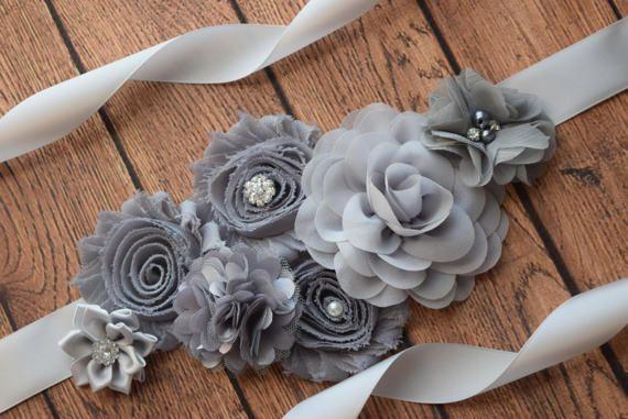 maternity sash Burgundy black  grey sash flower girl sash wedding sash,flower Belt burgundy gray sash Flower belt Sash Maternity sash