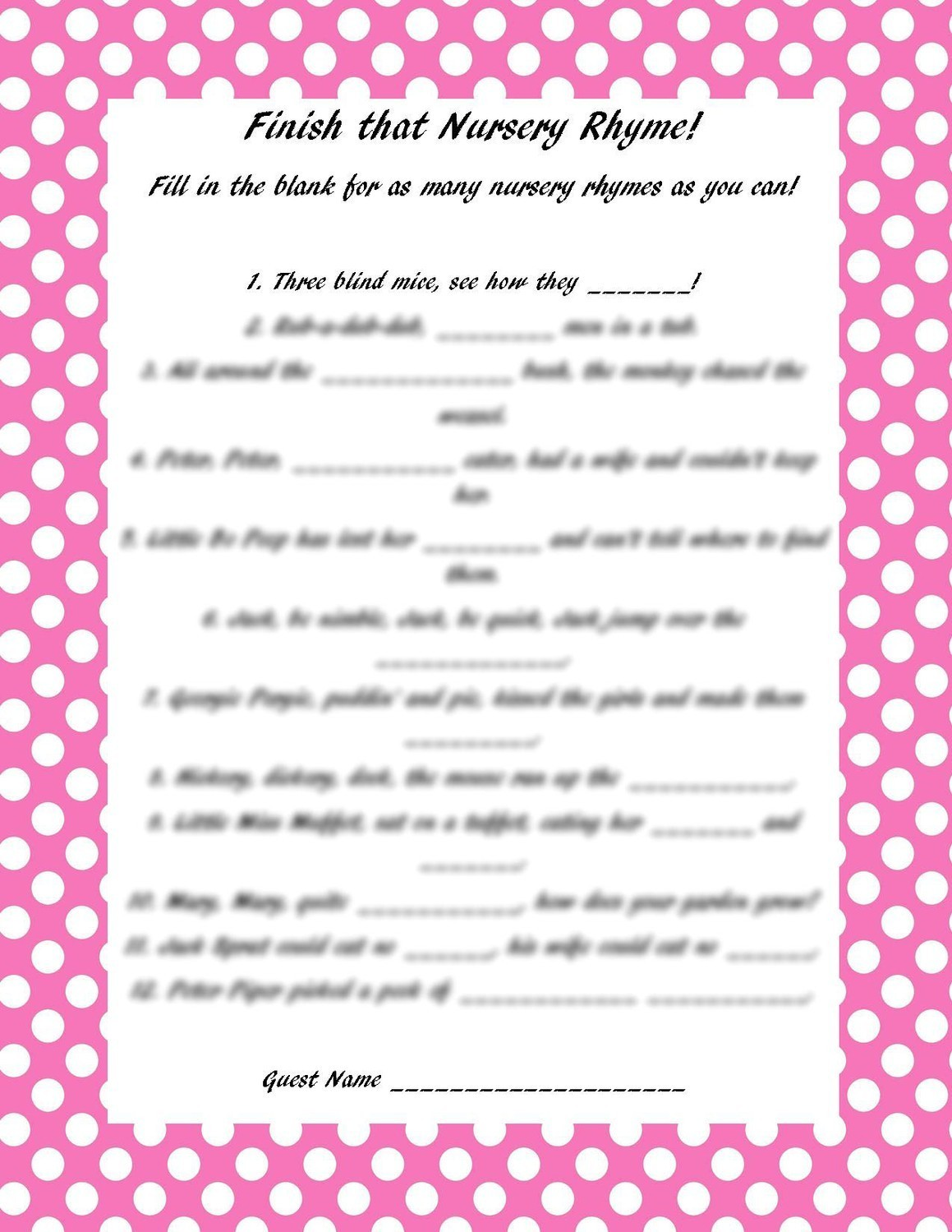 Baby Shower Finish The Nursery Rhyme Printable Diy On