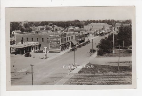 Real Photo Postcard Street Scene Carrington North Dakota 1920s 30s Hotel Gas Ebay
