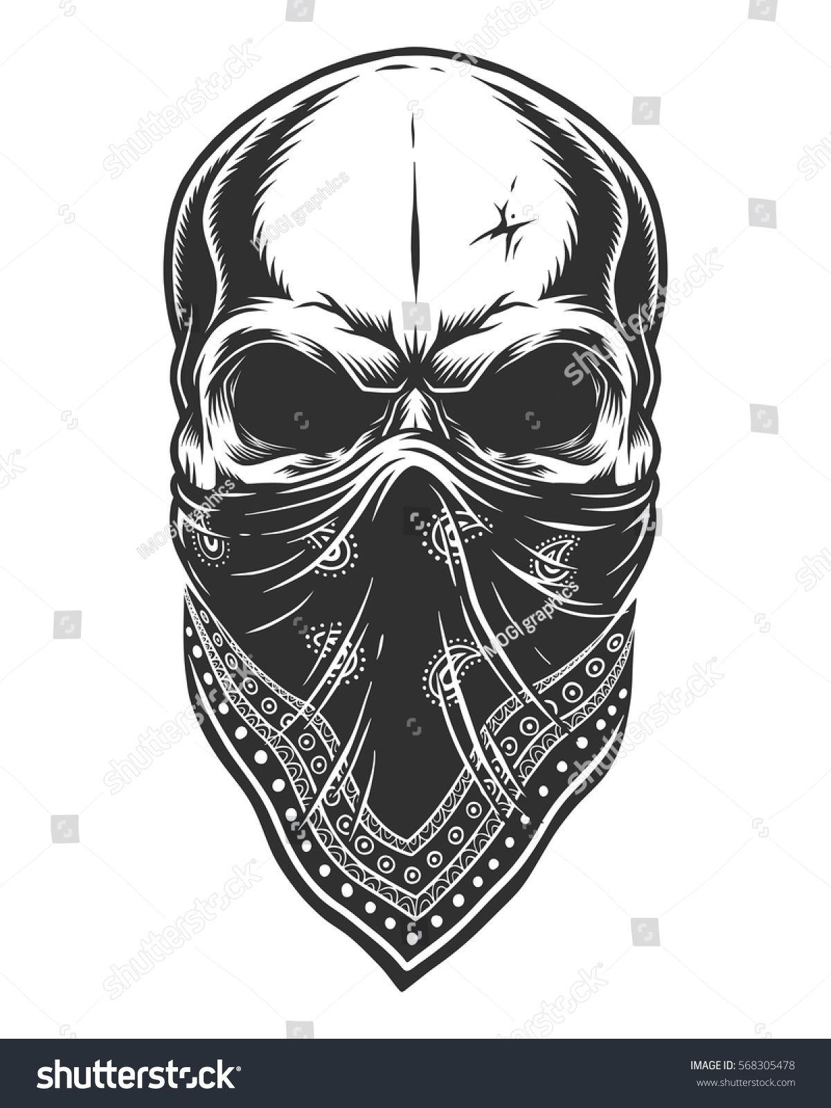 Illustration of skull in bandana on face. Monochrome line