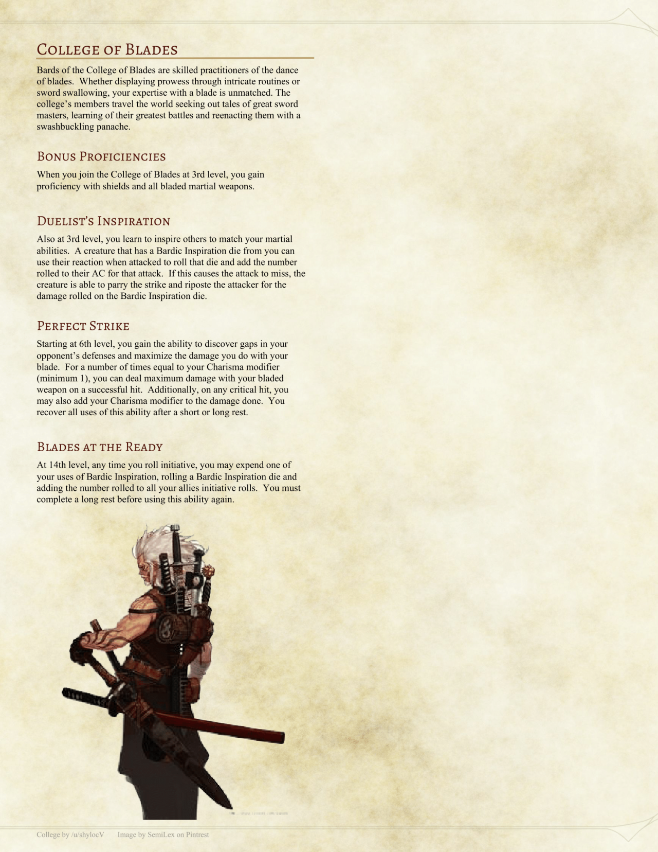 """dnd-5e-homebrew: """"College of the Blades Bard by Shylocv"""