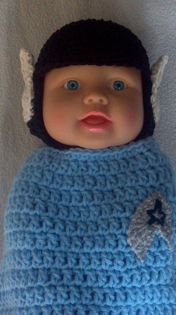 Spock Hat and Cocoon, Star Trek, Great Photo Op, Newborn, crocheted