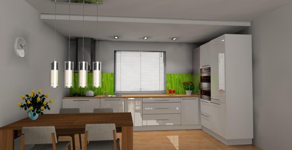 aranzacja projekt kuchni otwartej na salon wystroj nowoczesny w kolorze bialy   -> Aranzacja Kuchni Otwarta Na Salon