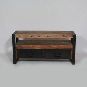 meuble tv industriel 2 tiroirs en palissandre | tvs and metals - Meubles Tele Design 2