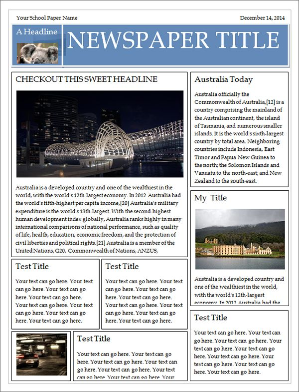 Free Newspaper Template For WordYou Can Make Your Own Newspaper