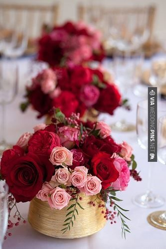 Pink Cranberry Rose Centerepieces Wedding Centerpieces Rose Centerpieces Gold Vase Centerpieces
