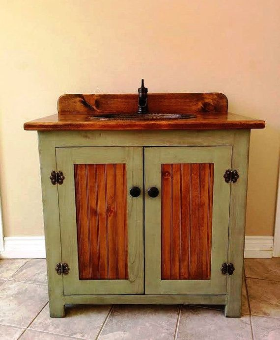 Country Pine Bathroom Vanity with Hammered Copper Sink 36 inch wide