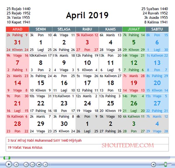 Kalender Jawa April 2019 Kalender Rabu Selasa