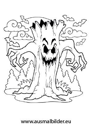 Ausmalbild Halloween Schrecklicher Baum Halloween Ausmalbilder Malvorlagen Halloween Halloween Vorlagen Ausdrucken