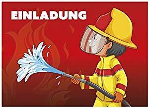 Feuerwehrparty: 16 Einladungskarten Zum Kindergeburtstag   Motiv  Feuerwehrmann   Für Kinder, Jungen,