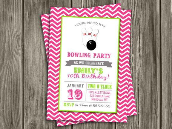 Printable Girl Bowling Birthday Photo Invitation Girl Birthday - printable girl birthday invitation cards