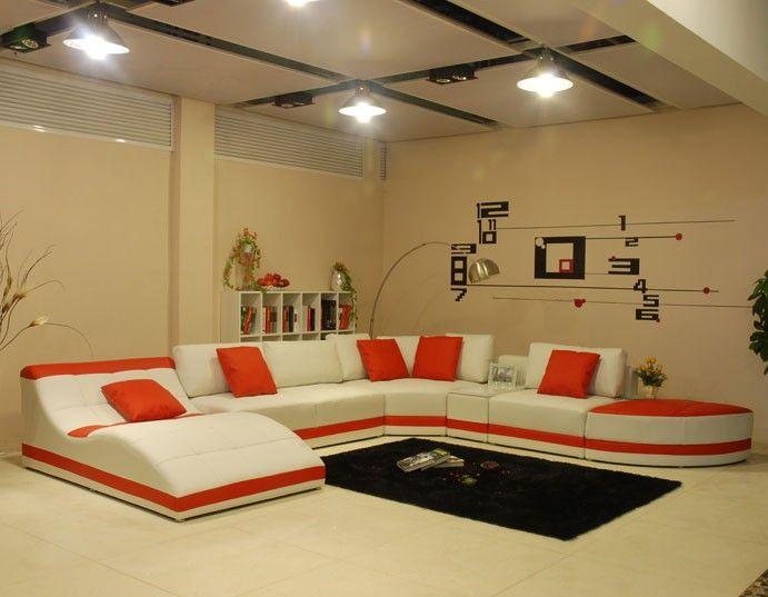 Miami Contemporary Leather Sectional Sofa Set Contemporary