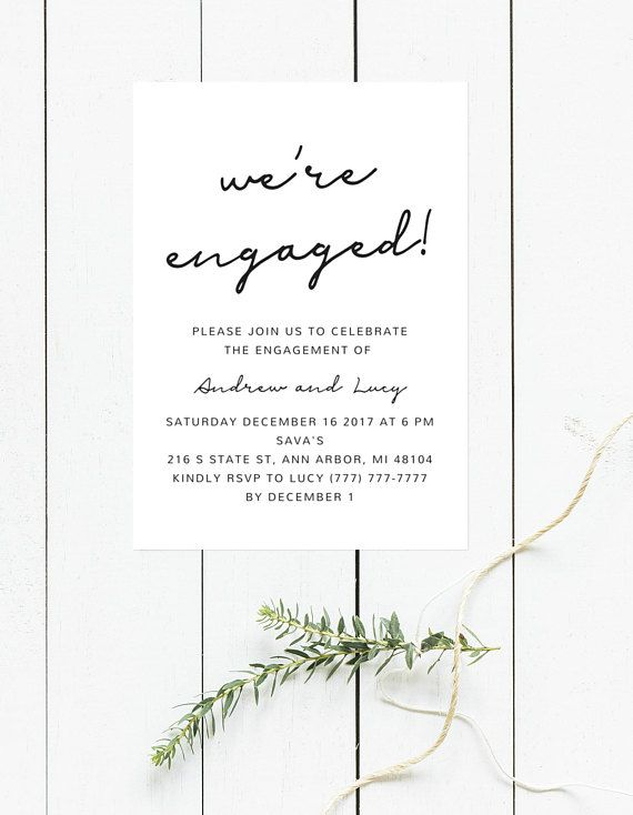 We\u0027re Engaged! Black and White Engagement Invitation, Printable
