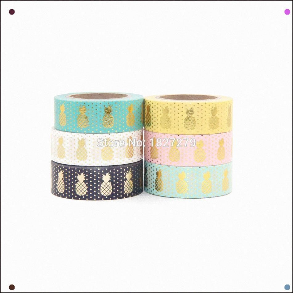 2016 New Gold Foil Pineapple Printing Washi Tape Kawaii Decorative,Scrapbook Too... -