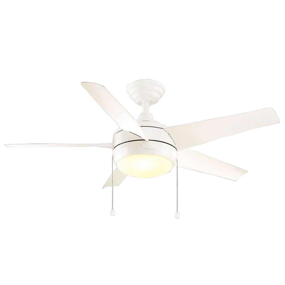 Home Decorators Collection Windward 44 In Led Indoor Matte White Ceiling Fan With Light Kit 51566 The Depot