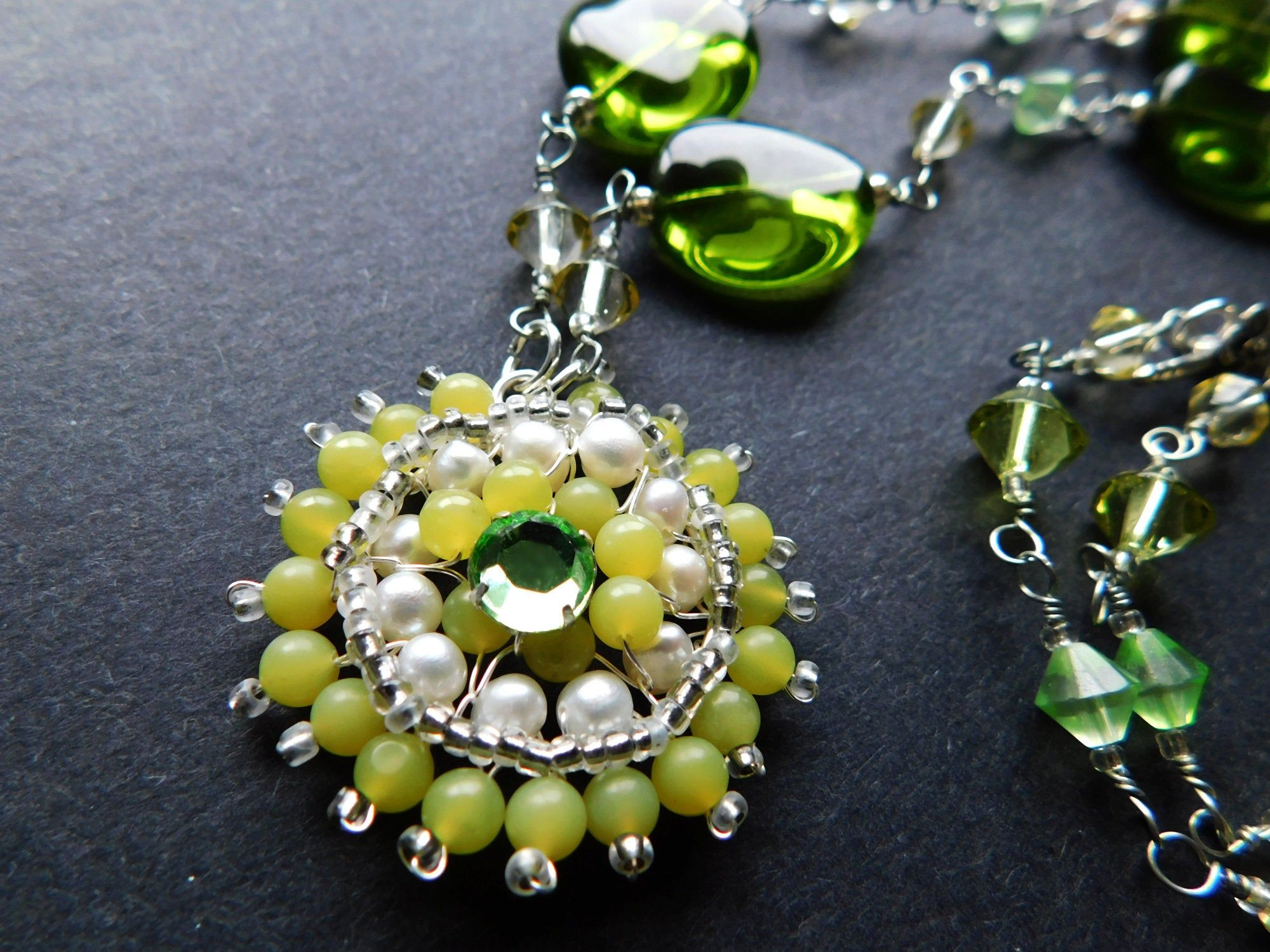 Beaded Round Pendant Necklace With Green Jades White Fw Pearls Green Rhinestone Olive Green Oval Glass Faceted Crystal Beads N D16 008 Round Pendant Necklace Crystal Beads Round Pendant