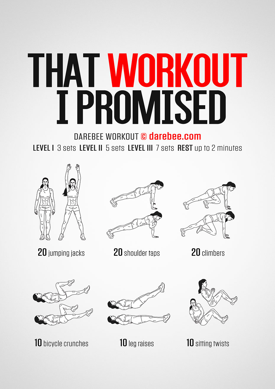 Workout I Promised Workout by #DAREBEE #workout #fitness #fit #exercise #exerciseideas #abs #cardio