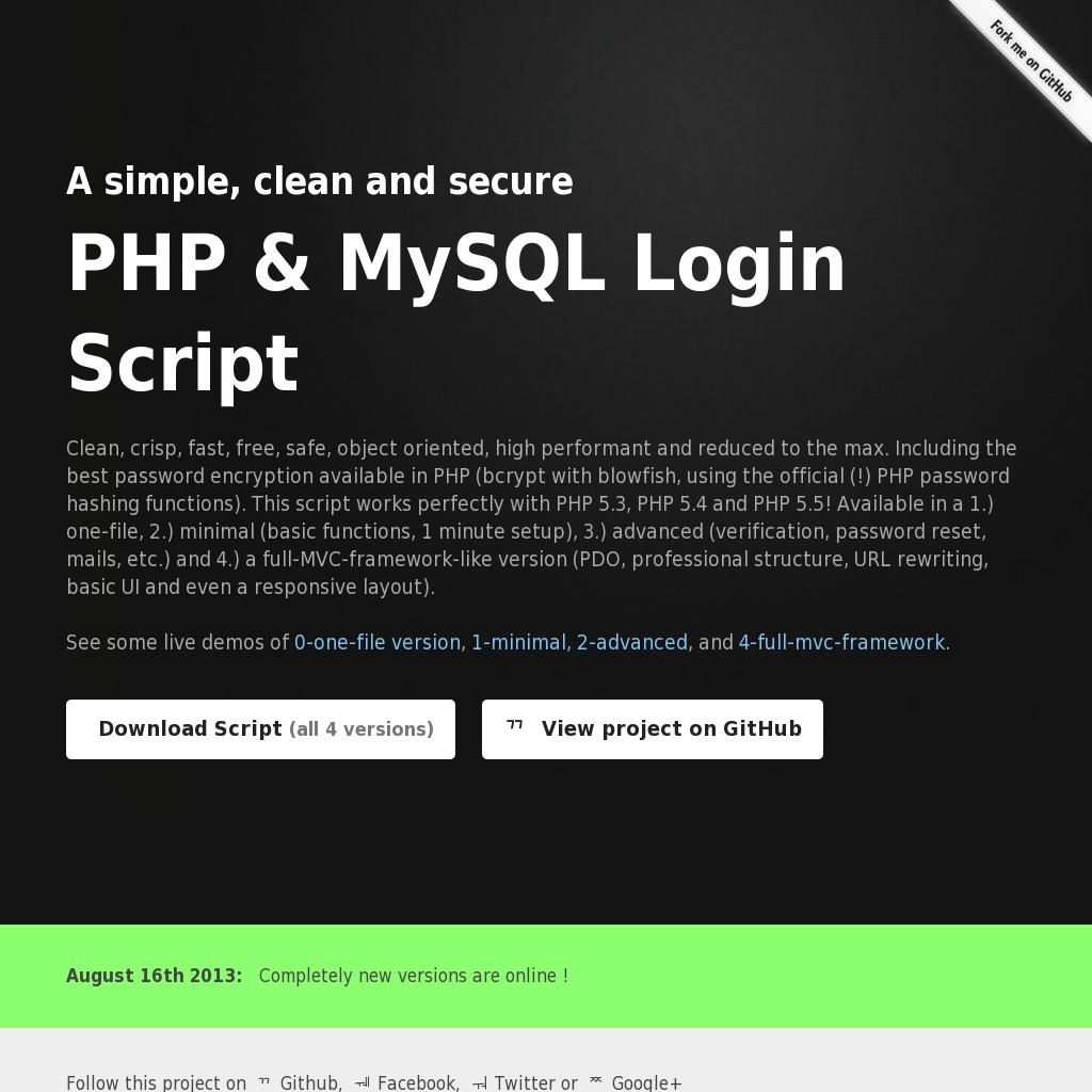 A simple, clean and secure PHP & MySQL Login Script | CMS